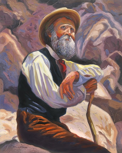 John Muir portrait painting by Steve Simon