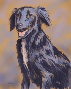 Digital painting of Jane Goodall's dog Rusty by Steve Simon
